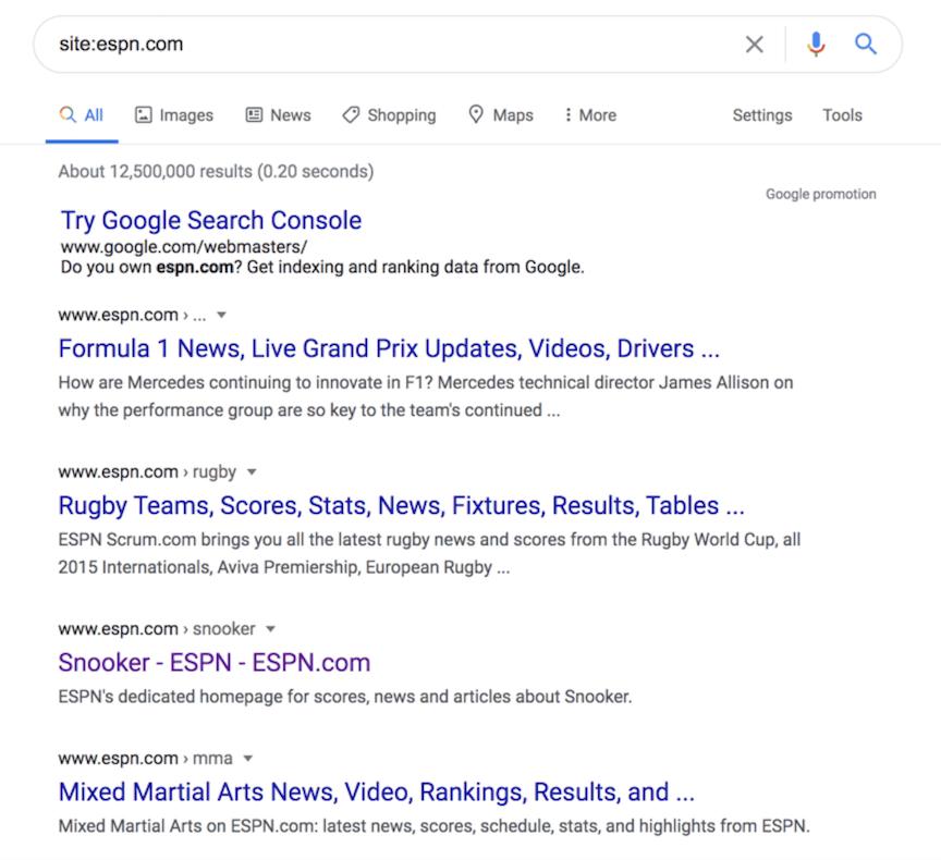 Ferramenta de inspeção de URL do Google Search Console