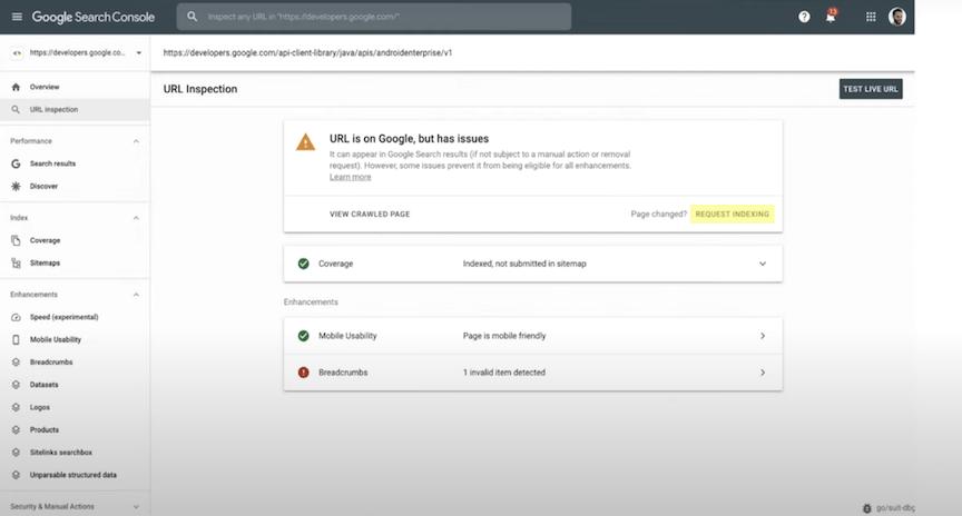 Como solicitar indexação com a ferramenta de inspeção de URL do Google Search Console